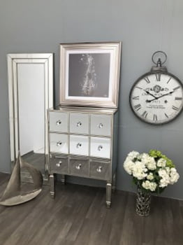 Glass 3 draw mirrored chest of drawers antique silver