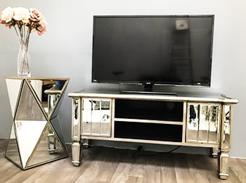 Mirrored Media Unit Marbella Antiqued Silver