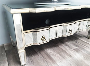 Mirrored TV Table Charleston Range with 3 drawers and shelf