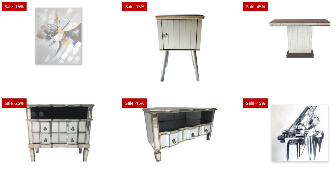 Easter Sale - Mirrored furniture discounts