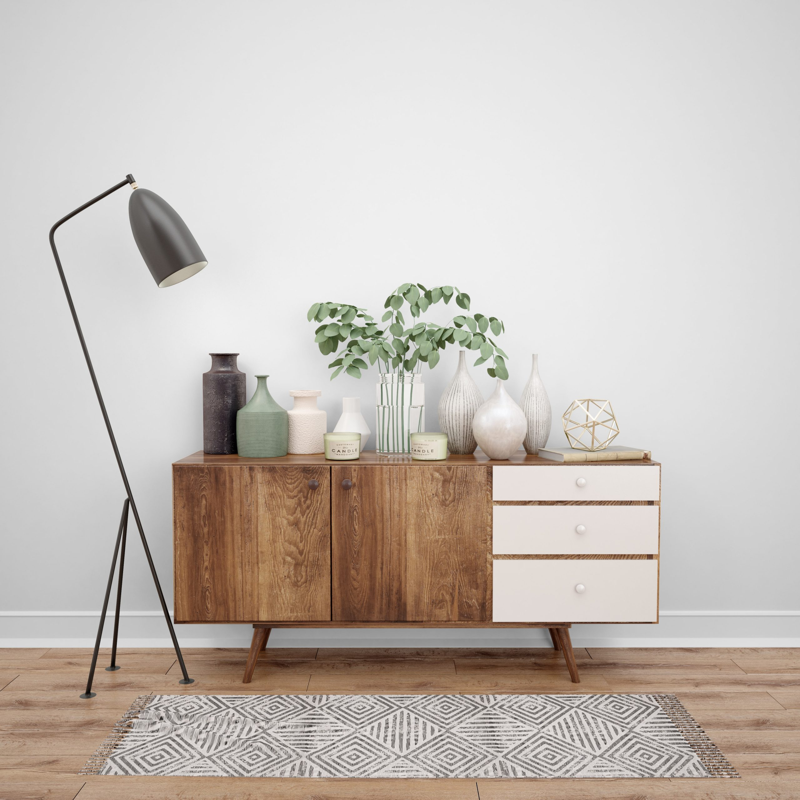 Standing lamp for mid century chest of drawers